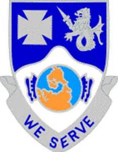 "Blue and Silver Shield with ""We Serve"" in writing"