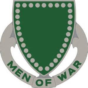 "Green and Grey shield with ""Men of War"" written on it."