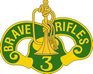 Green and yellow Brave Rifles logo