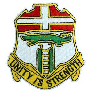 Red, Yellow and green patch with Unity is Strength in writing.