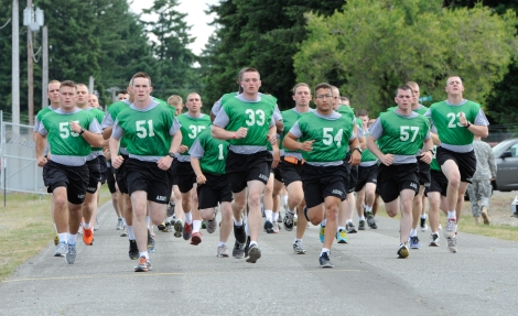 Reserve Officers' Training Corps 2nd Regiment Cadets perform the running portion of the Army physical fitness test. (U.S. Photo by Gary Tarleton)